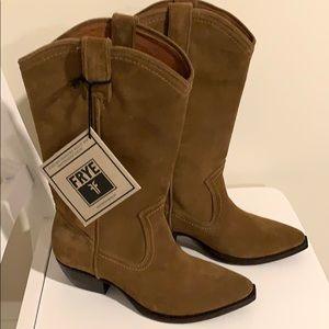 Brand new suede Frye cowboy boots